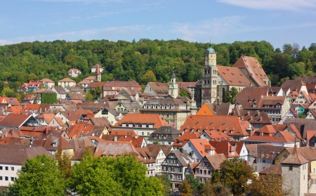 Schwäbisch Hall is a town in the German state of Baden-Württemberg and located in the valley of the river Kocher in the north-eastern part of Baden-Württemberg The town features a great number of historic buildings from various periods, including many