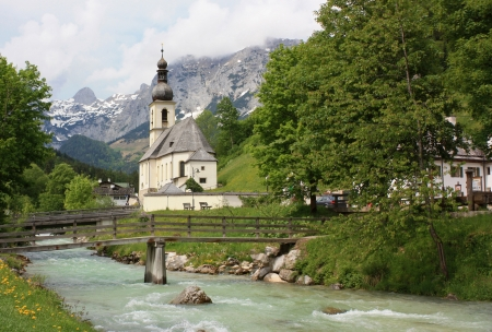visitors area: Ramsau an der Ache Set in an enchanting location in the Ramsau Valley, this village is apopular base for visitors to the area  Spectacular views of the mountains can be enjoyed from the small parish church