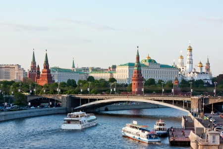 The Moscow Kremlin is a historic fortified complex at the heart of Moscow, overlooking the Moskva River  It is the best known of kremlins and includes four palaces, four cathedrals and the enclosing Kremlin Wall with Kremlin towers   photo