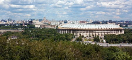 Look at the Luzhniki stadium and theMoscow city from Sparrow hills