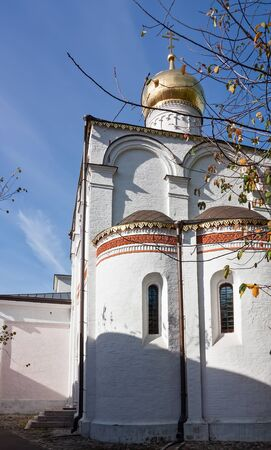 apses: Church in Moscow on the left coast of the Moscow River in the former large village Simonovoj Stock Photo