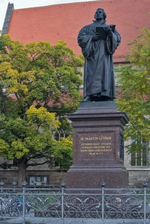 The memorial is a monument to honor of Martin Luther in front of the