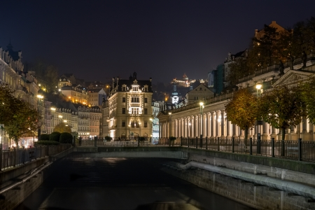karlovy: Embankment of Tepla river in Karlovy Vary in evening Editorial