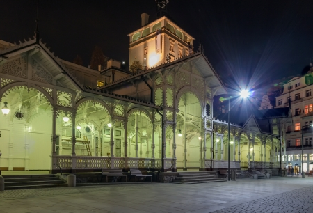 gabled: The Colonnade is covered by the gabled roof and it is surrounded by wooden walls on three sides. The front wall consists of the pillared arcade.