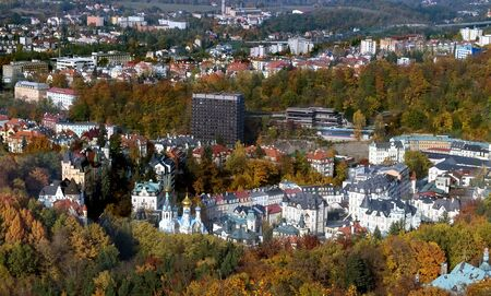 karlovy: Panorama of Karlovy Vary from a hill