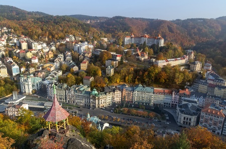 Panorama of Karlovy Vary from a hill