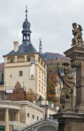 karlovy vary: The Castle Tower is located in the historical center of Karlovy Vary above the Castle Colonnade.