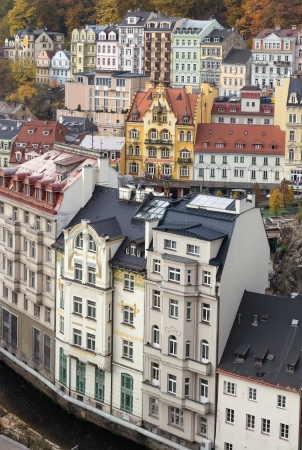Cityscape of historical center of Karlovy Vary photo
