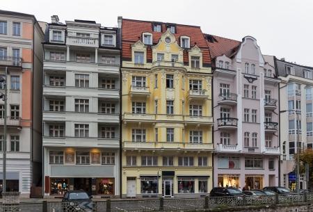 karlovy: Houses on embankment of Tepla river in Karlovy Vary