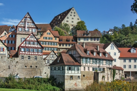 Schwabisch Hall is a town in the German located in the valley of the river Kocher in the north-eastern part of Baden-Wurttemberg  Stock Photo