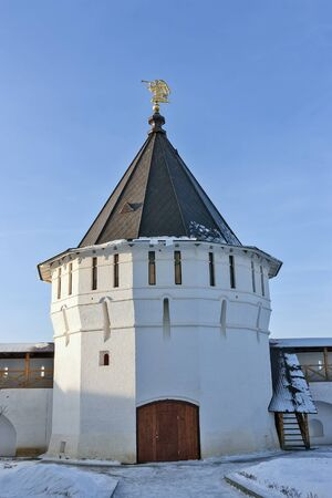 commanding: Tower. Vysotsky Monastery is a walled Russian Orthodox monastery commanding the high left bank of the Nara River in Serpukhov