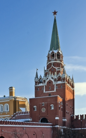 The Troitskaya Tower is a tower with a through-passage in the center of the northwestern wall of the Moscow Kremlin, which overlooks the Alexander Garden. Stock Photo - 17531420