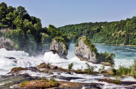 The Rhine Falls is the largest plain waterfall in Europe.