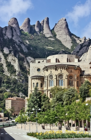 Santa Maria de Montserrat is a Benedictine abbey located on the mountain of Montserrat in Catalonia, Spain. Stock Photo
