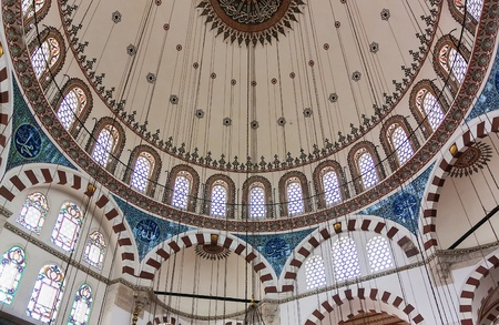 Inside view. The Rustem Pasha Mosque is famous for its large quantities of exquisite decorated tiles.