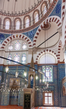 quantities: The minbar.The Rustem Pasha Mosque is famous for its large quantities of exquisite decorated tiles.