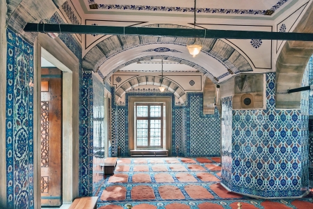 quantities: Inside view. The Rustem Pasha Mosque is famous for its large quantities of exquisite decorated tiles.