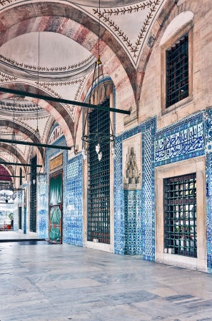 The Rustem Pasha Mosque is famous for its large quantities of exquisite decorated tiles. Stock Photo