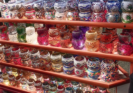 Glass candlesticks on the  Grand Bazaar, Turkey, Istanbul photo