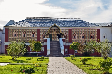 The restored Romanov boyar palace. The Ipatiev Monastery is a male monastery, situated on the bank of the Kostroma River just opposite the city of Kostroma. It was founded around 1330 Stock Photo