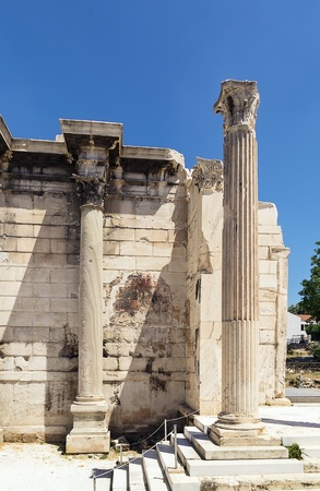 hadrian: Hadrian Library was created by Roman Emperor Hadrian in AD 132 on the north side of the Acropolis of Athens Stock Photo