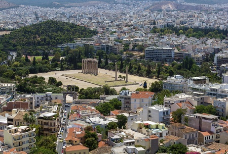 olympian: The Temple of Olympian Zeus is a colossal ruined temple in the centre of the Greek capital Athens that was dedicated to Zeus