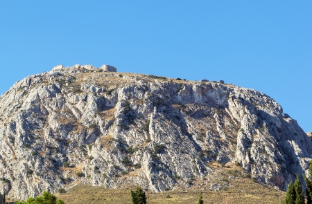 peloponnesus: view of fortress Acrocorinth. Acrocorinth - Upper Corinth, the acropolis of ancient Corinth, Greece