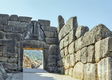 Das Löwentor in Mykene, Griechenland. Der Löwe-Tor war der Haupteingang der Bronzezeit Zitadelle von Mykene