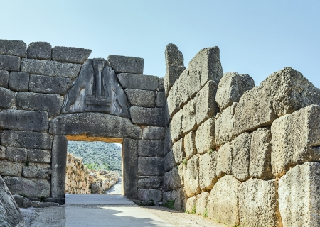 The Lion Gate in Mycenae, Greece. The Lion Gate was the main entrance of the Bronze Age citadel of Mycenae