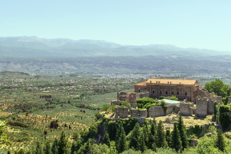 Despot Palace at Mystras archaeological site, Greece Stock Photo
