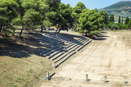 peloponnese: ruins of the temples devoted to Asclepius in Epidaurus, Greece Stock Photo