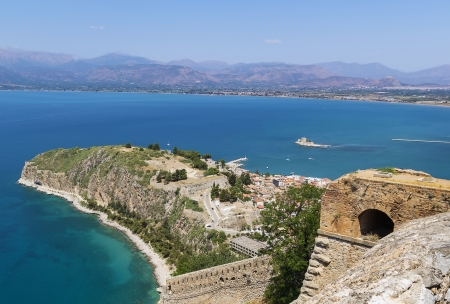 bourtzi: View of the old part of the city of Nafplio from Palamidi castle, Greece