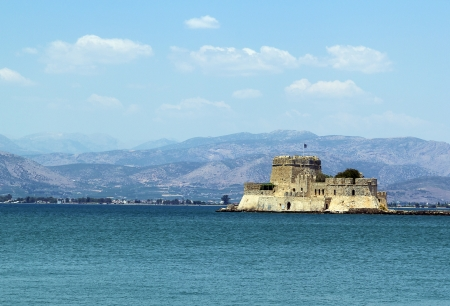 bourtzi: The castle of Bourtzi is located in the middle of the harbour of Nafplio  The Venetians completed its fortification in 1473