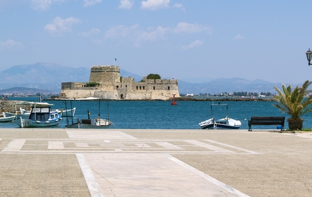 bourtzi: The castle of Bourtzi is located in the middle of the harbour of Nafplio. The Venetians completed its fortification in 1473