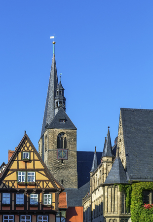 mentioned: Marktkirche in Quedlinburg. This church is mentioned for the first time in 1223, Germany Stock Photo