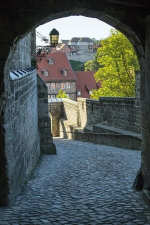 settles: Castle in Quedlinburg settles down on the mountain and towers over the city, Germany. Gate in the castle Editorial
