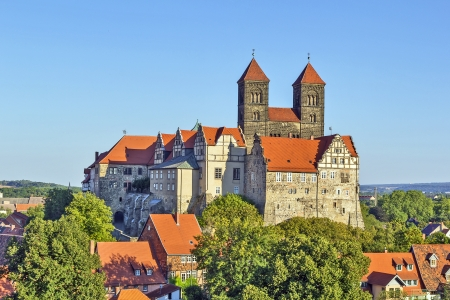 view of castle and church in Quedlinburg, Germany