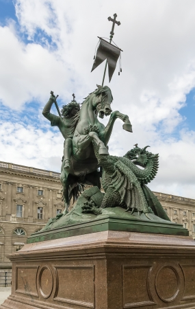 Statue of Saint George and the dragon in Berlin Stock Photo