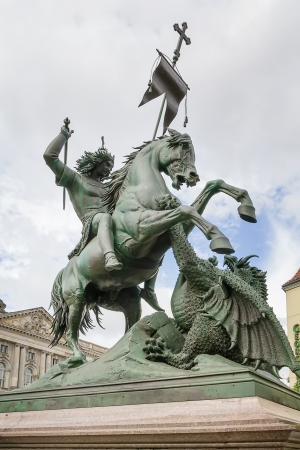 Statue of Saint George and the dragon in Berlin Stok Fotoğraf
