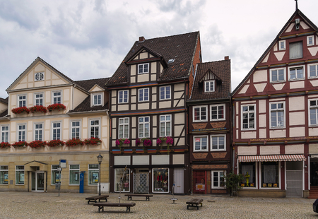 The street with historical half-timbered houses in the old city of Celle, Germany photo