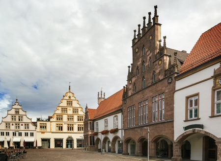 historical houses on market square in the city of Lemgo, Germany