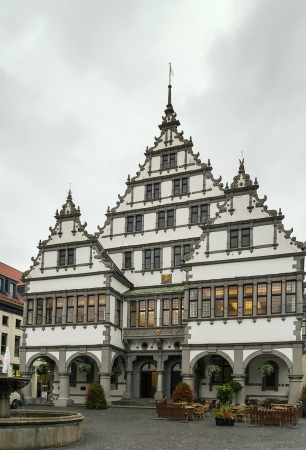 the Renaissance town hall was constructed in 1616 on a market square of the city of Paderborn, Germany