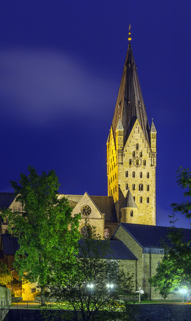 known: Catholic Paderborn Cathedral  is mainly of the 13th century. The western tower of the 12th century is 93 m high. In the evening