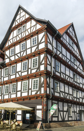 Historical half-timbered houses in downtown of Melsungen, Germany photo
