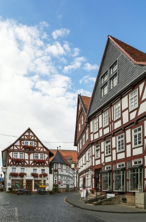 hesse: the street with picturesque ancient half-timbered houses in the Fritzlar city, Germany