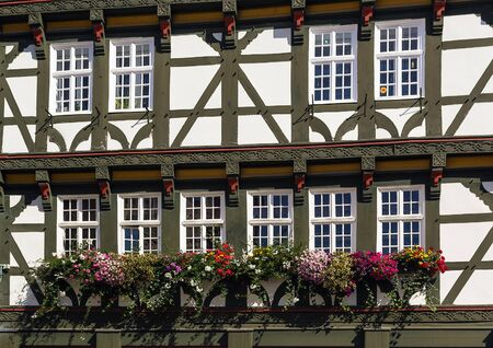 hesse: detail of a facade of the ancient half-timbered house in Fritzlar, Germany Stock Photo