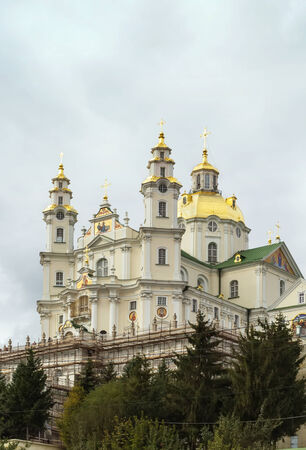 ideological: Dormition Cathedral. Holy Dormition Pochayiv Lavra has for centuries been the foremost spiritual and ideological centre of various Orthodox denominations in Western Ukraine Stock Photo