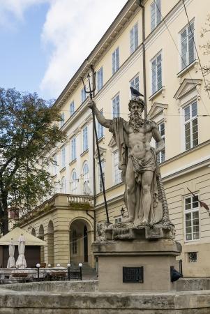 neptun: sculpture of the Neptune on a market square in Lviv, Ukraine