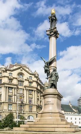 Adam Mickiewicz Column was erected in 1904 in Lviv downtown, Ukraine