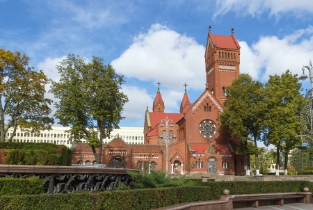 Church of Saints Simon and Helen also known as the Red Church is a Roman Catholic church on Independence Square in Minsk, Belarus Stok Fotoğraf